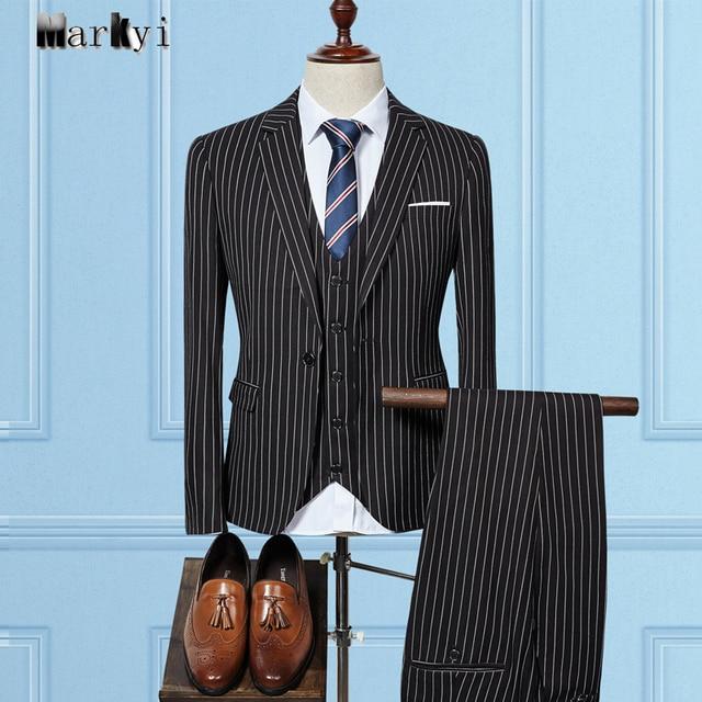 MarKyi 2017 fashion striped men suit slim fit plus size good quality mens suits wedding groom 3 piece suit men