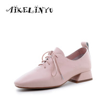 AIKELINYU New Women Pumps 2019 Spring Fashion Comfortable Genuine Leather Shoes Pure Color Tie-up Low Heel Office Lady