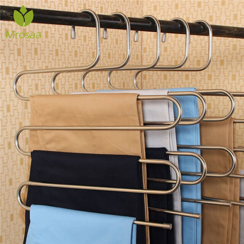 Mrosaa S Type Pants Trousers Hanger Multi Layers Stainless Steel Clothing Towel Storage Rack Closet Space Saver