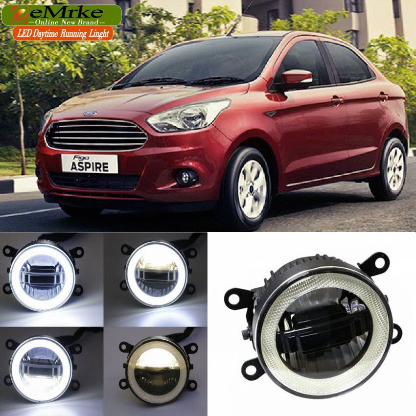 eeMrke For Ford Figo 2015 3 in 1 LED DRL Angel Eye Fog Lamp Car Styling High Power Daytime Running Lights Accessory high quality h3 led 20w led projector high power white car auto drl daytime running lights headlight fog lamp bulb dc12v
