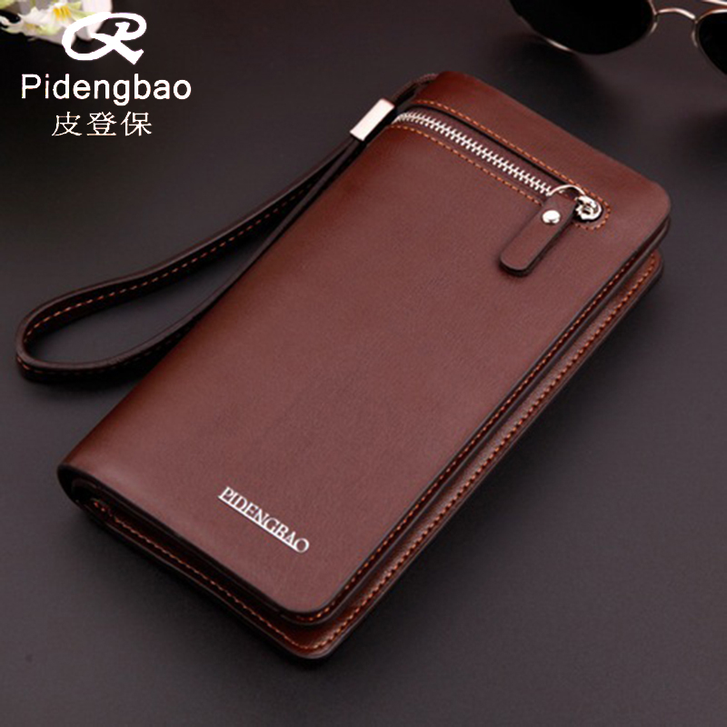 PIDENGBAO wallet purse carteira masculina men wallets carteras leather purses brand designer mens card holder long clutch double zipper men clutch bags high quality pu leather wallet man new brand wallets male long wallets purses carteira masculina
