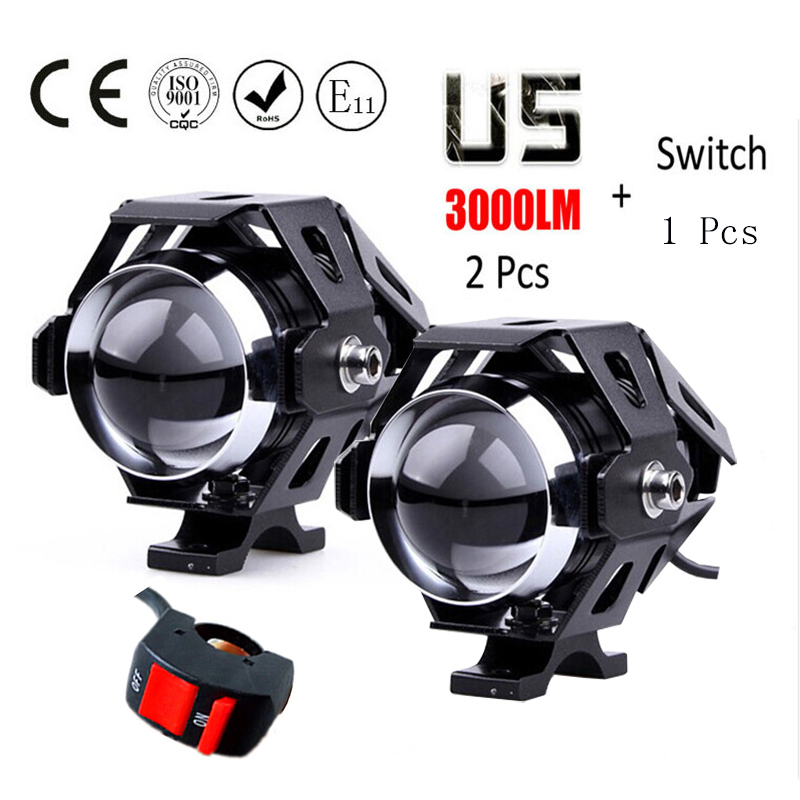 2pcs 125W motorcycle headlights auxiliary lamp Cree U5 led motobike spotlights accessories moto driving fog spot head light crash bar mt 09