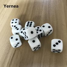 10Pcs/Lot 16mm Dice Points Acrylic White Hexahedron Rounded Corners Black dot Dungeons and Dragons Game Rpg Set Yernea