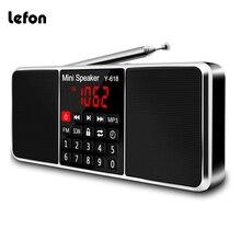 Lefon altavoz receptor de Radio FM Digital, reproductor MP3 estéreo, compatible con tarjeta TF, unidad USB, pantalla LED, apagado de tiempo, Radios portátiles