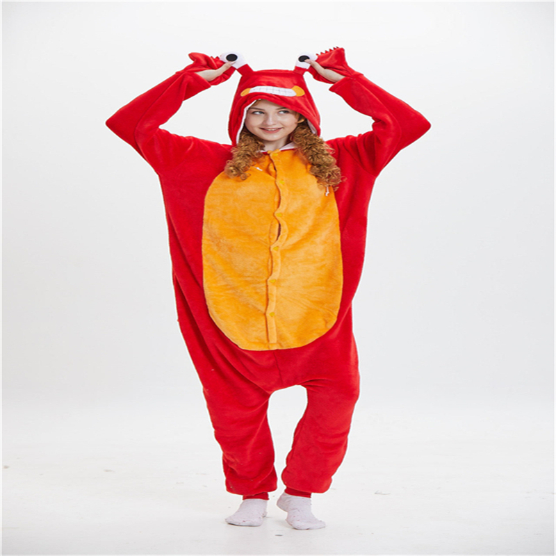 Animal Cartoon Siamese Adult Red Pajamas Crayfish Adult Flannel Clothes Cosplay Clothing Men and women Applicable