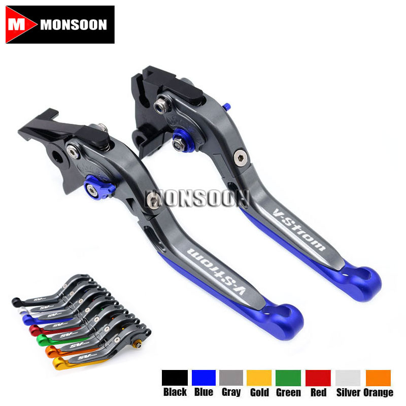 LOGO V-strom For SUZUKI DL 650 DL650 V-STROM 2011-2012 Motorcycle Accessories Folding Extendable Brake Clutch Levers 8 Colors motorcycle cnc aluminum brake clutch levers for suzuki sfv650 gladius 2009 2015 dl650 v strom 2011 2012 gsr600 2006 2011
