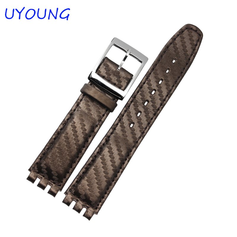 High Quality 17mm Waterproof Genuine Leather Watch Strap Band For Swatch Croco Pattern Black Brown White lucky john croco spoon big game mission 24гр 004