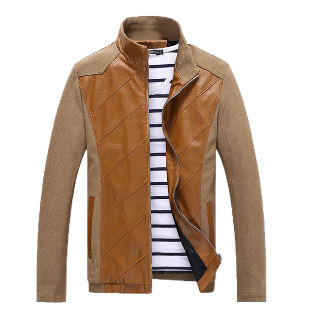 Korea Style Washed PU Leather Jacket and coat Stitching Coat For Men 2015 Spring Autumn Jacket Men Plus size 5xl Man Coats 70