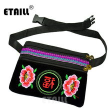 ETAILL Chinese Ethnic Minority Style Flower Embroidered Waist Bag Cellphone Pouch Pack Belt Women Shoulder