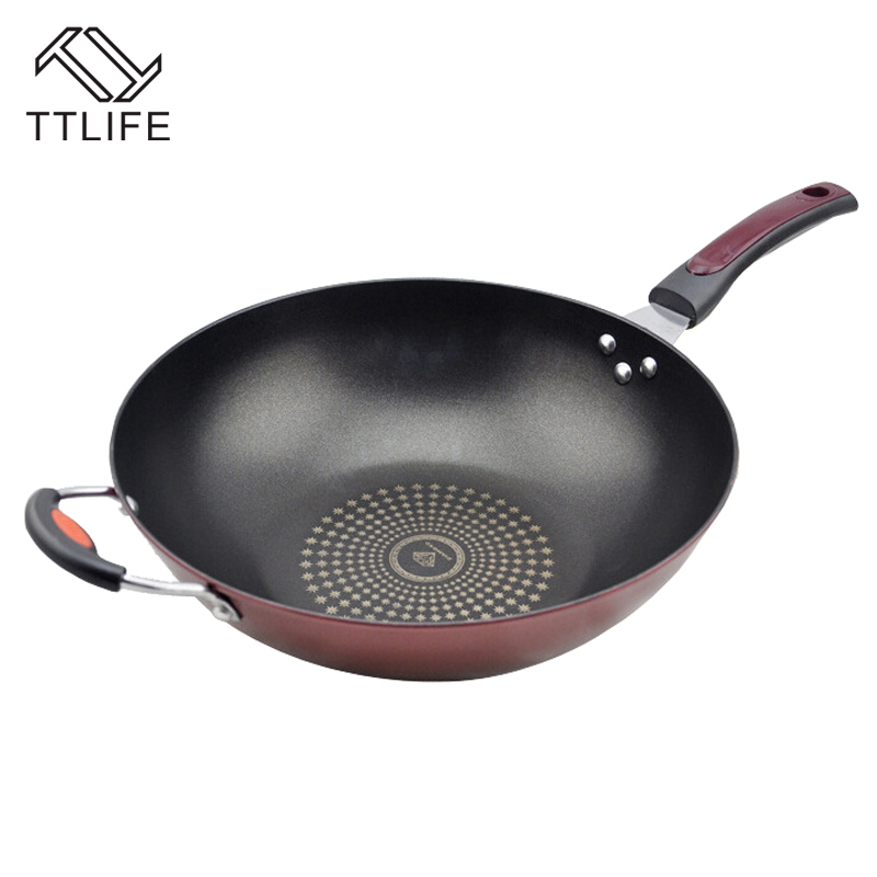 TTLIFE High Quality 32cm 34cm Non-stick Layer Pan Deep Wok Frying Pan Flat Bottom Cookware Use for Gas and Induction Cooker