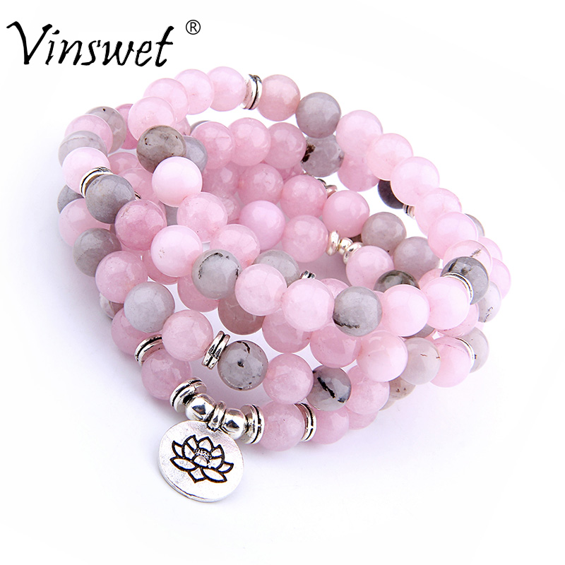 108 Beads Natural Pink Stone Beads Bracelet Fashion OM Pendant Strand Mala Men Bracelets or Necklace Yoga Healing Women Jewelry все цены
