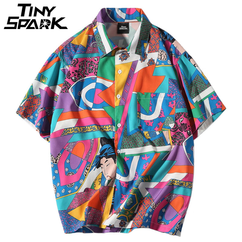 Camisa holgada Hip Hop Harajuku japonesa Ukiyo E Anime camisa de manga corta camisa hawaiana Casual Streetwear fino verano 2018