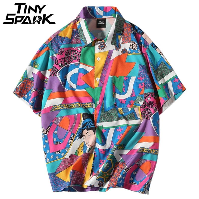 Men Loose Hip Hop Shirt Harajuku Japanese Ukiyo E Anime Shirt Short Sleeve Top Hawaiian Shirt Casual Streetwear Thin Summer 2018