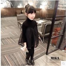2016 Autumn Winter Girls Fashion Fleece Warm Knitting Chiffon Long Sleeved Dresses cute baby Clothes Children Clothing