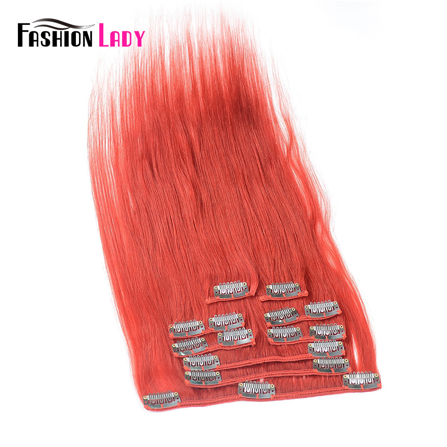 Fashion Lady Pre-Colored Brazilian Clip In Human Hair Extensions Straight Hair 9pcs Per Set With 17pcs Clips 18 Inches Non-Remy