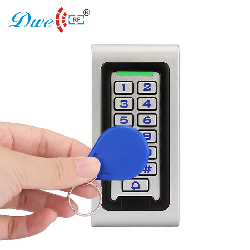 DWE CC RF access control keypads waterproof wiegand standalone rfid reader with door bell button with numbers button dwe cc rf 2017 hot sell 13 56mhz 12v wg 26 rfid outdoor tag reader for security access control system