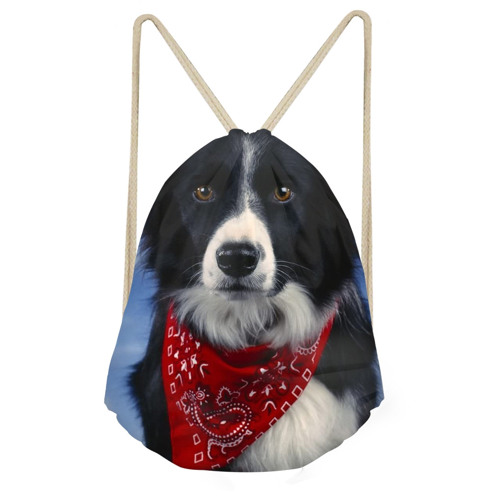 Kawaii 3D Dog Border Collie Print Women Men Drawstrings Bags Double Sides Storage Bags For Teen Girl School BackpackSumka