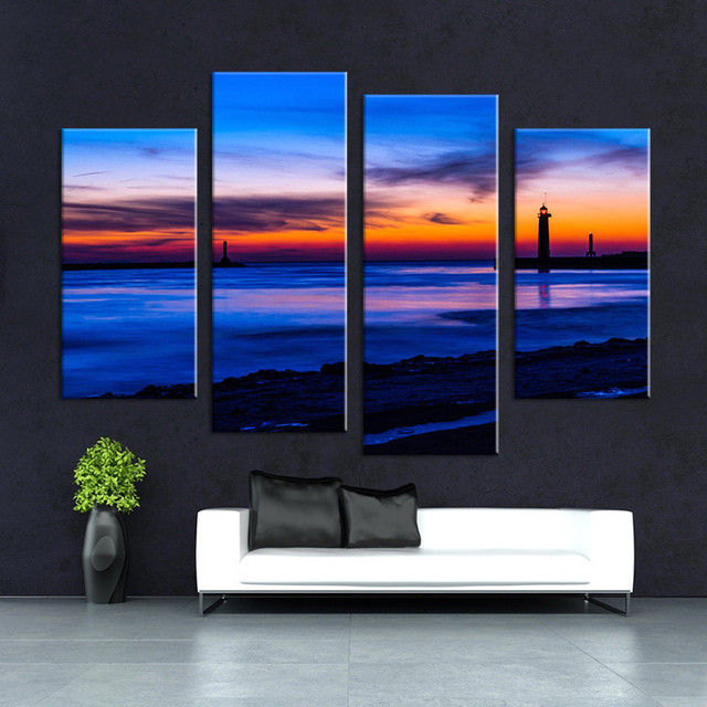 4 Panels Rocky Stream Painting Wall Art Picture Sunset Beach Home  Decoration Sunset Of Seascape Print