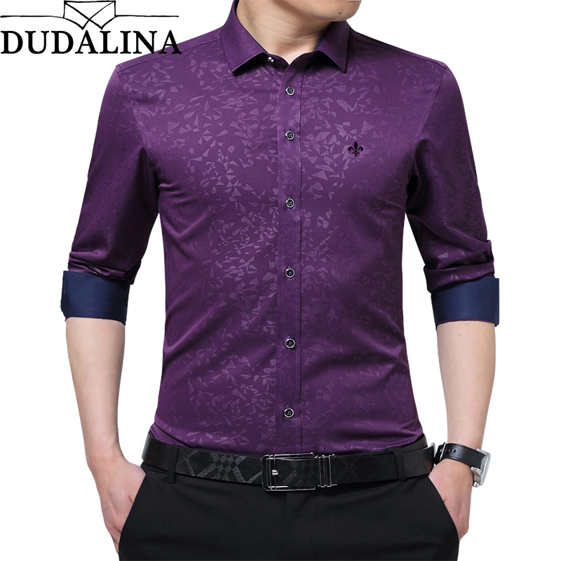 DUDALINA 2019 New Men Clothes Slim Fit Men Long Sleeve Shirt Printe Casual Men Social Shirt Jacquard Plus Size Imported China