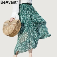 BeAvant Floral Print Wrap Green Skirts Summer Beach Long Skirt Women Skirts 2018 High Waist Sash