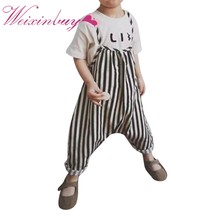 One Piece Girl Boy Jumpsuit Overalls Kids Harness Black and White Striped Trousers Rompers Clothes Outfit(China)