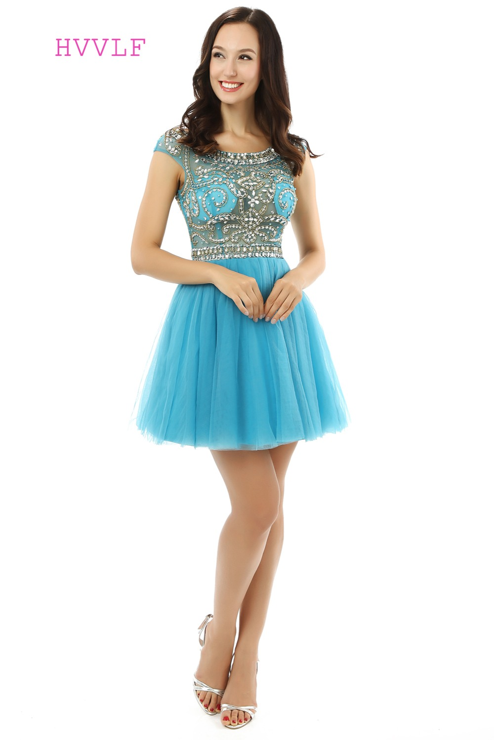 Luxurious Homecoming Dresses A line Cap Sleeves Tulle Beaded ...