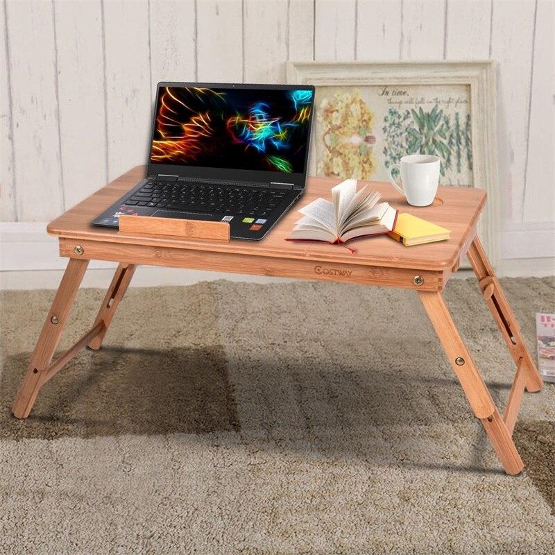 Table de bureau d'ordinateur Portable en bambou Portable avec tiroir Table d'ordinateur Portable de meubles de bureau de haute qualité Table d'ordinateur Portable réglable HW52609