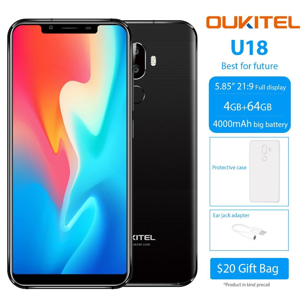 OUKITEL U18 Visage ID 4G smartphone ite 5.85 pouces 21:9 Android 7.0 Octa Core 4 GB RAM 64 GB ROM 4000 mAh 16MP + 13MP téléphone portable