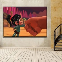 Home Decor Canvas Print Picture 1 Piece Ralph And Vanellope von Schweetz Movie Wreck-It Painting For Living Room Wall Art