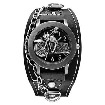 Montres pour hommes de moto Antique avec une rétro chaîne et bracelet en cuir
