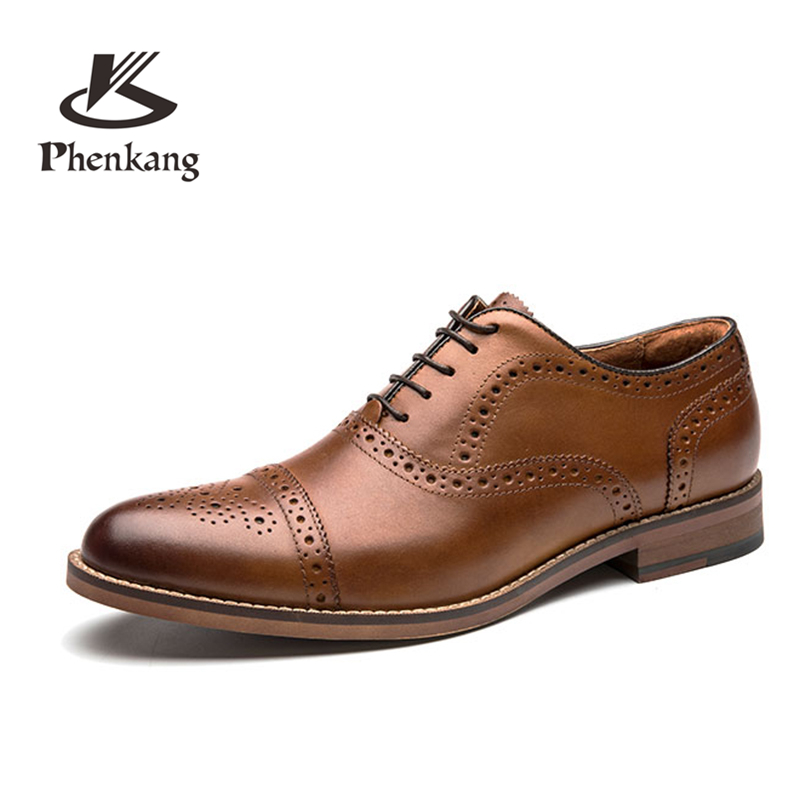 Men shoes quality leather dress round toe Shoe men brand brogue black business wedding casual Shoes black casual round neck ruffled dress