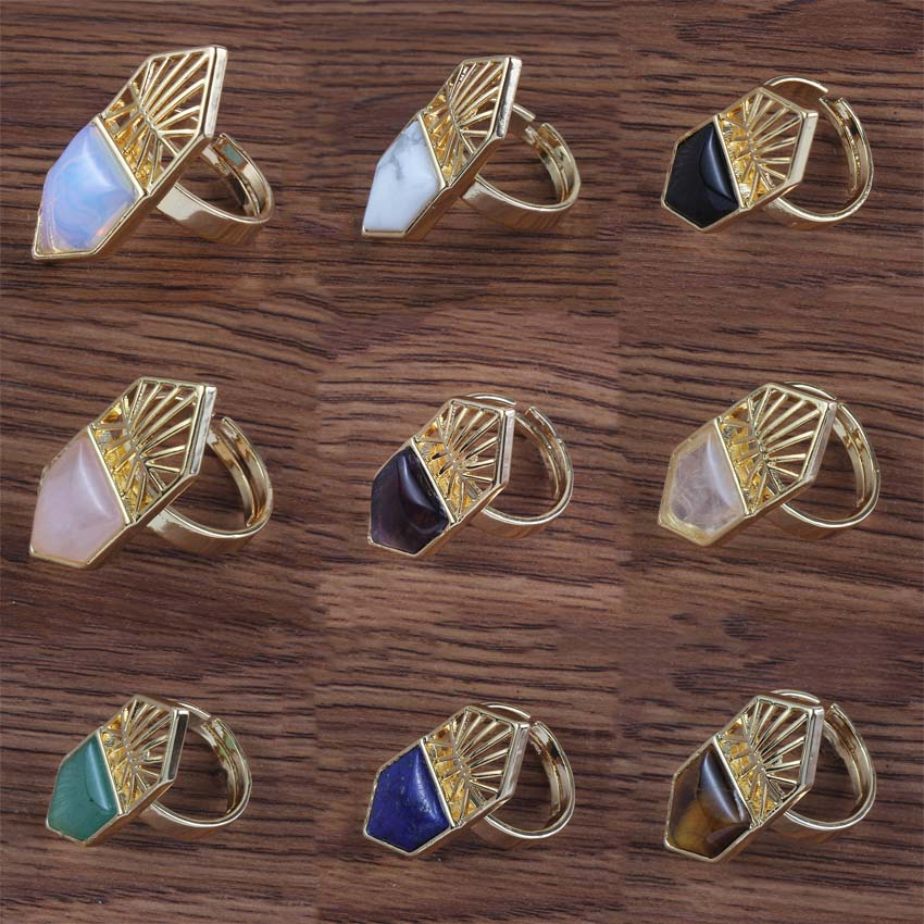 xinshangmie Distinctive Light Yellow Gold Color Rose Pink Quartz Purple Amethysts Stone Finger Ring Party Gift Fashion Jewelry
