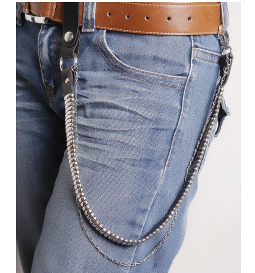 Fashion Casual Leather Metal Pants Chain Male Punk Personality Belly Chain Students Hiphop Street Star Rivet Metal Waist Chain