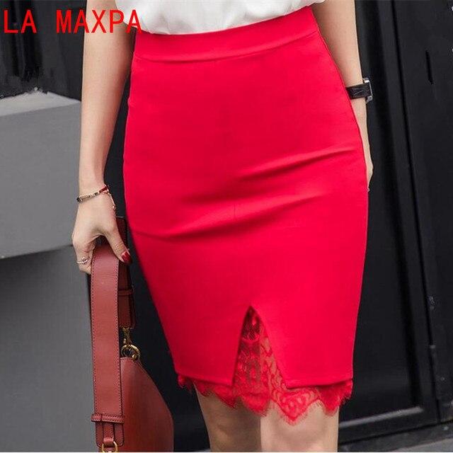 a0e38a273d51 LA MAXPA 5XL Plus La Taille Noir Crayon Jupe Moulante En Dentelle jupes  Femmes Rokken D