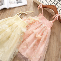 5154 Flowers Petal Embroidery Princess Party Wedding Girls Dress Tutu Summer Kids Dresses For Girls Wholesale