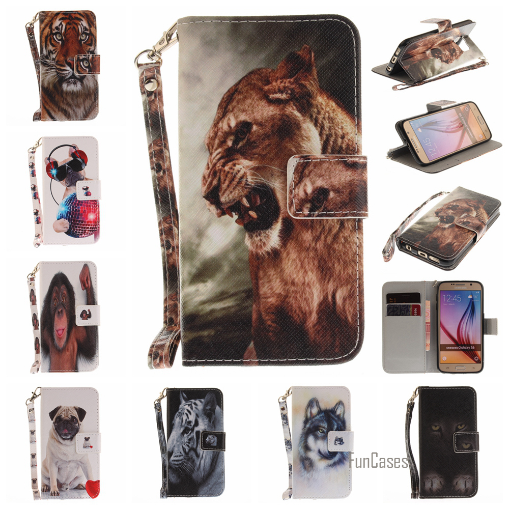 Funda Painted PU Leather Flip Case For Galaxy S6 S7 Edge S8 Plus J5 Prime Wallet Case For Samsung Galaxy A3 A5 2017 J5 J3 2016