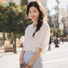 INMAN 2019 Blouses V Neck Cotton Material Clothes Women Summer Loose Type Stripped Bow Knot Pullover Shirt(China)