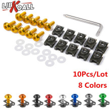 10PCS/Set  M6 20mm Motorcycle Fairing Body Bolts Spire Speed Fastener Clips Screw Spring Bolts Scooters Nuts Bolts 8 Colors 10 set cnc motorcycle aluminum 6mm m6 body fairing bolts spire speed fastener clips screw spring nuts for harley honda kawasaki
