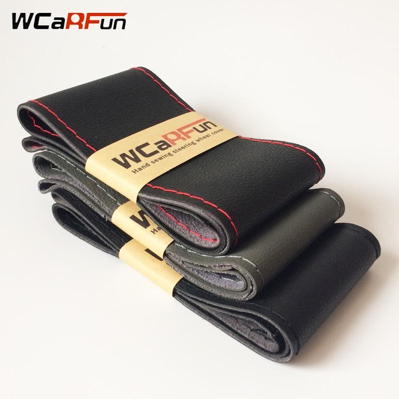 Bricolaje coche Interior accesorios de coche volante cubre cuero suave trenza en el volante del coche con aguja
