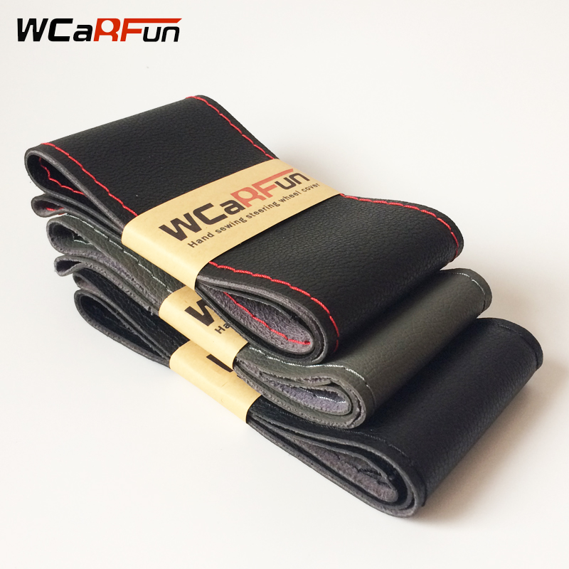 DIY Car Interior accessories Hand-Stitched Car Steering Wheel Covers soft Leather braid on the steering wheel of Car With Needle