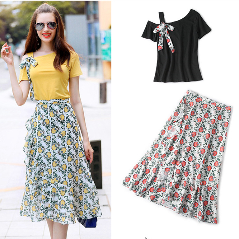Skirt Suit Summer Women's Off Shoulder Bows Tees Tops And Fresh Floral Print Ruffles Young Ladies OL Skirt Suit Sets NS650