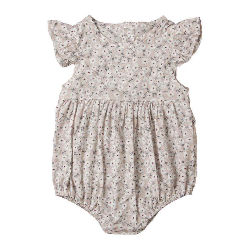 Боди без рукавов для новорожденных девочек, детский летний хлопковый повседневный комбинезон с цветочным принтом, детская одежда, пляжный костюм