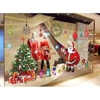 Diy 이동식 벽화 크리스마스 산타 클로스 크리스마스 트리 벽 스티커 pvc 장식 홈 창 크리스마스 벽 장식