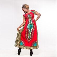 ผ้าฝ้ายสีแดงชุด dashiki แอฟริกันผู้หญิงพิมพ์ชุดยาวฤดูใบไม้ร่วง ropa Africana mujer