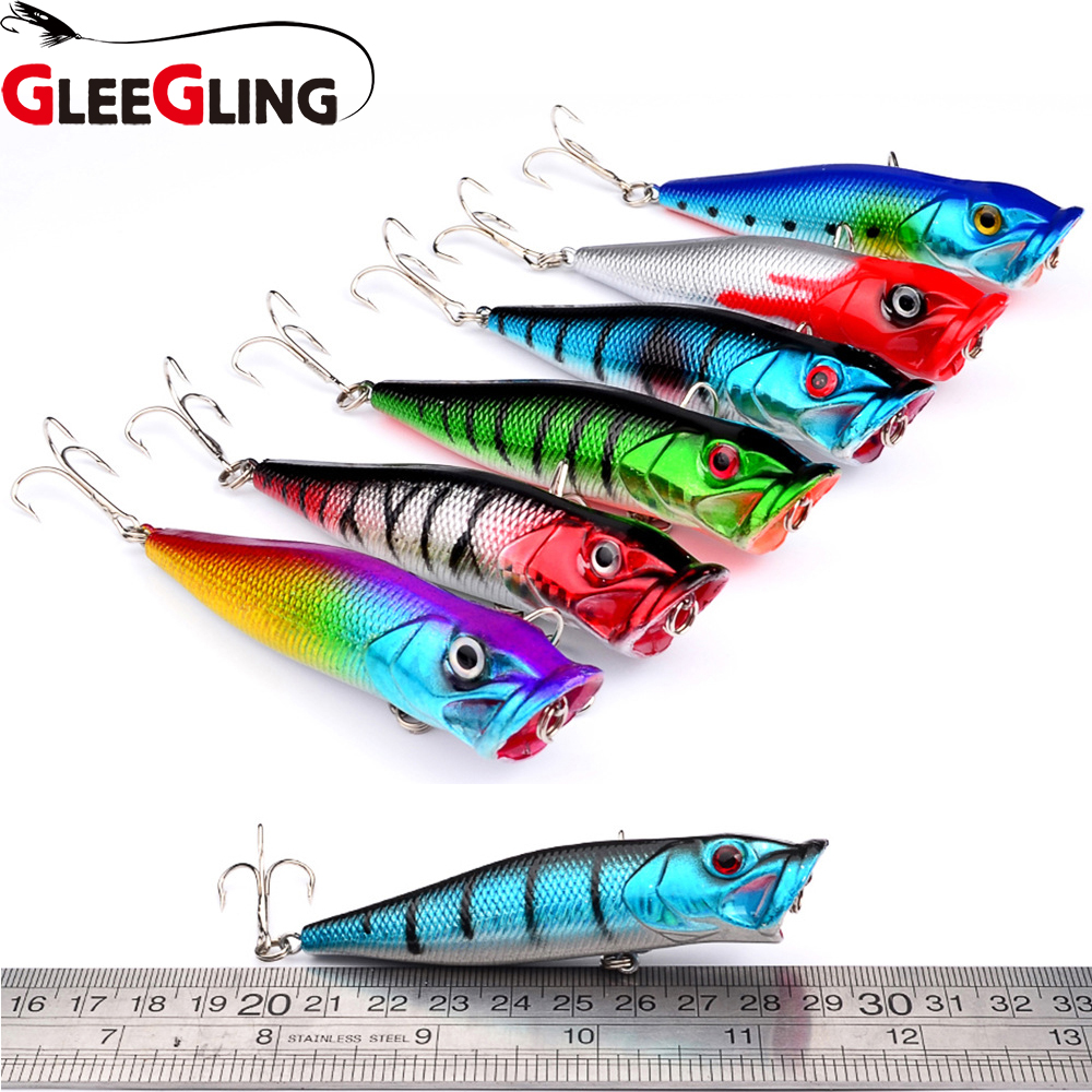 GLEEGLING 6Pcs Popper Lure 6 Colors Available 8cm 12g Fishing Lure with 6# Hooks Fishing Tackle Fishing Bait Ocean Rock Fishing