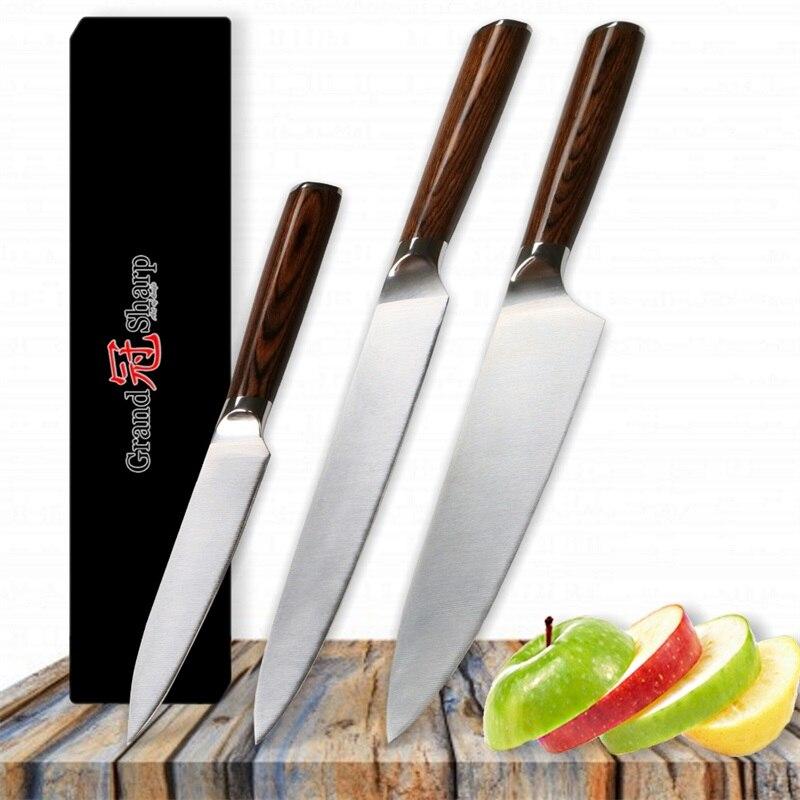 Grandsharp 3 stks Keukenmes Set Duitse Staal 1.4116 Chef Snijden Utility Messen Rvs Keukenmessen Gereedschap Geschenkdoos-in Messenset van Huis & Tuin op  Groep 1