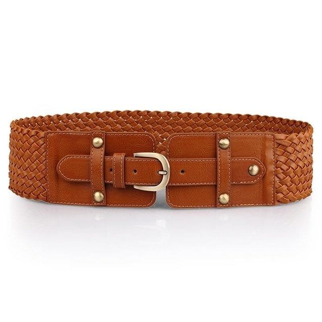2016 mujeres Cummerbunds Vintage Pin hebilla de cinturón ancho accesorios de ropa para mujer marrón Retro sólido de la armadura de punto ocasional adulto