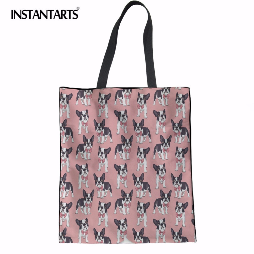 INSTANTARTS Linen Casual Shopping Bag Cute French Bulldog Pink Tote Handbag Cotton Canva ...