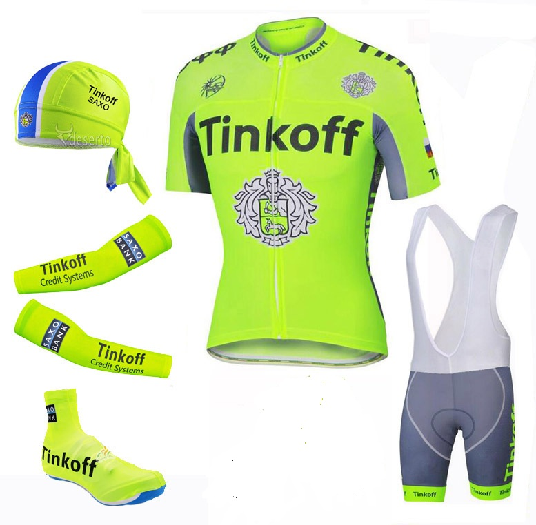 Ciclismo 2017 Fluo Green Short Sleeve Cycling Jersey/Quick Dry Cycling Clothing Sets Summer Bike Shoe Cover/Arm Warmer/Scarf Kit