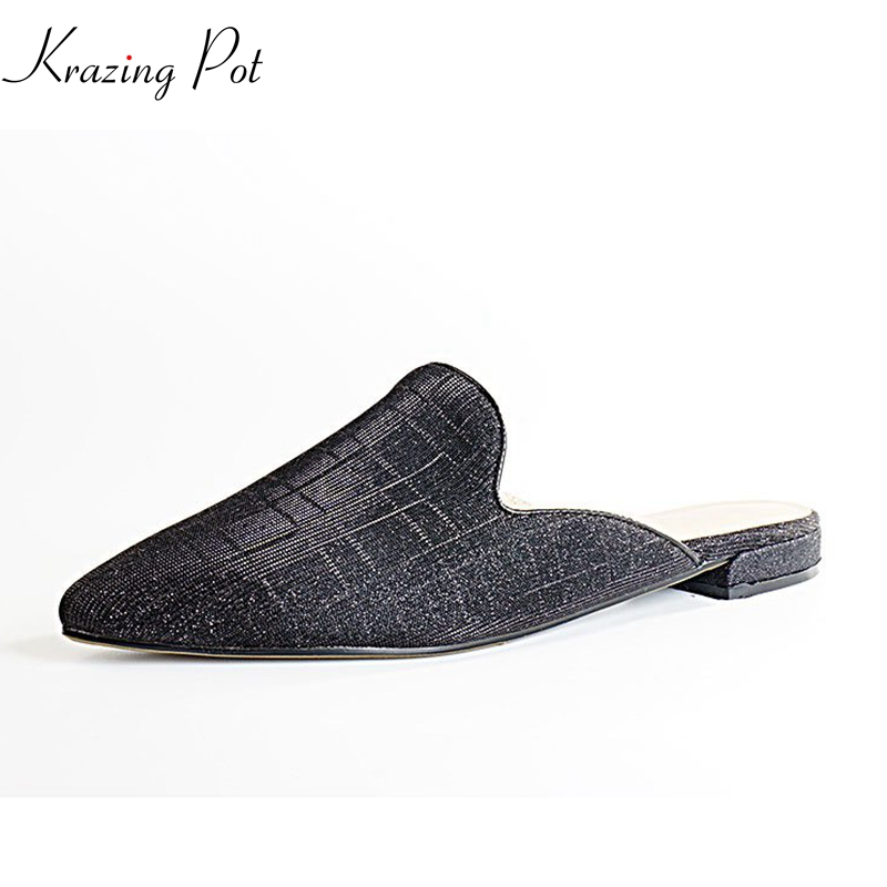 Krazing pot 2018 new sequin cloth fashion pointed toe shallow slip on solid women flats slipper summer luxury concise shoes L01 krazing pot empty after shallow shoes woman lace work flats pointed toe slip on sheep suede causal summer outside slippers l16